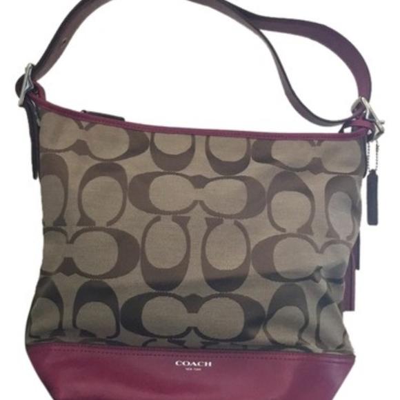 d462819ae879 Coach G1271-21149 Hot Pink Brown Canvas Hobo Bag